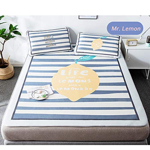 CPPI-1 Ice Silk Mat, Lemon Stripe Grid,1.8m 1.5m Summer Mat for Children, for Student Mat, Foldable,washable, Contains a Pillowcase