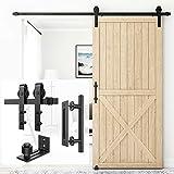 Homlux 8ft Heavy Duty Sturdy Sliding Barn Door Hardware Kit Single Door Whole Set Include 1x Round Door Handle, 1x Floor Guide - Fit 1 3/8-1 3/4' Thickness Door Panel(Black)