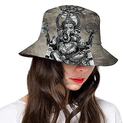 Bucket Hat, Fisherman Hats Summer Outdoor Packable Cap Travel Beach Sun Hat Women Men Majestic Asian Elephant Lord Statue Picture Stone
