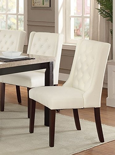 Poundex Faux Leather/Solid Wood Dining Chairs, White