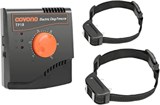 COVONO Electric Dog Fence,Upgraded In Ground Pet Containment System(Underground or Aboveground,500Ft Copper Wire,Waterproof&Rechargeable Collar,Shock/Tone Correction)
