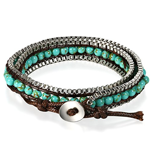 JewelryWe Pulsera de Cuero con Bolitas, Multiple Pulsera de Colores para Hombre Mujer, Pulsera Etnica Brazalete Americano, Ajustable E