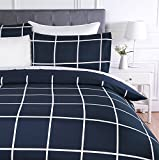 AmazonBasics - Set copripiumino in microfibra, 230 x 220 cm, Motivo a scacchi blu marino (Navy Simple Plaid)
