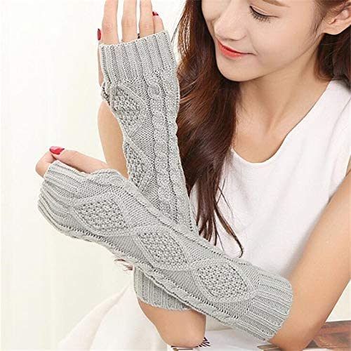 Women Warm Diamond Winter Gloves Mittens Unisex Fashion Arm Warmers Sleeves Gloves to Winter for Woman - (Color: G141 Light Gray, Gloves Size: 30cm)