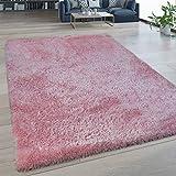 Alfombra De Salón Pelo Largo Lavable Shaggy Estilo Flokati Monocolor En Rosa, tamaño:200x280 cm