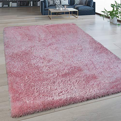 Alfombra De Salón Pelo Largo Lavable Shaggy Estilo Flokati Monocolor En Rosa, tamaño:80x150 cm