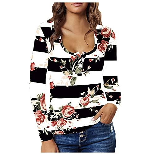 Blusenkleid - Vestido de manga larga para mujer, diseño de rayas florales, con botón, pecho bajo, sexy, ajustado, camiseta, tops, Negro , S