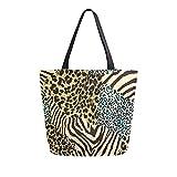 MeetuTrip Animal Zebra Tiger Leopard Print Bolsa de lona para mujer, grande, reutilizable, bolsa de compras, bolso de hombro casual para la escuela, adolescentes, niñas, profesor de viaje