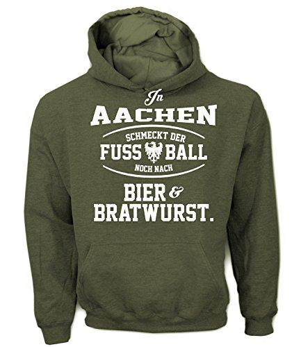 Artdiktat Herren Hoodie - In Aachen schmeckt der Fußball noch nach Bier und Bratwurst Größe XXL, Khaki