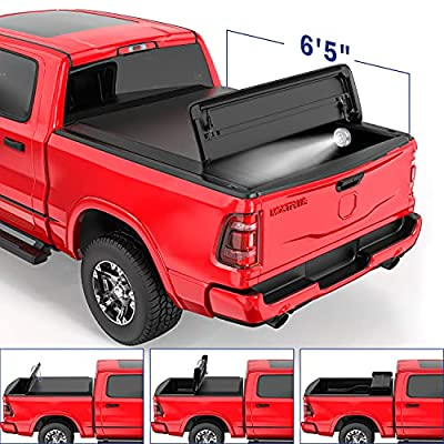 MOSTPLUS Soft Quad FOLD Truck Bed Tonneau Cover Compatible for 2002-2020 Dodge Ram 1500/2003-2020 Ram 2500 3500 Fleetside (for Models w/o Ram Box) (6.5 FT Bed) On Top-76.3 Inch