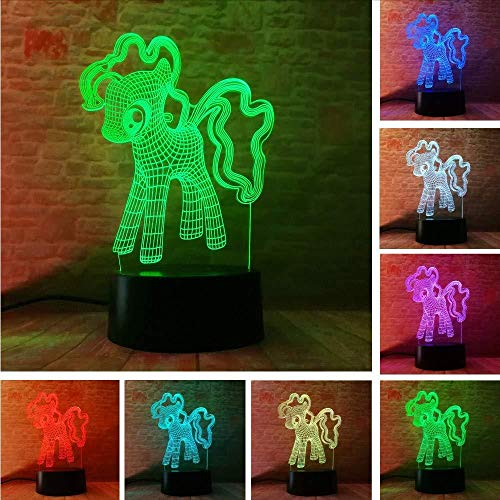 3D Illusion Lampe 3D My Little Pony Nachtlicht Tisch Led 7 T Bunte Kind Baby Tischdekoration Freund Touch Schlaf Lampen Geschenke