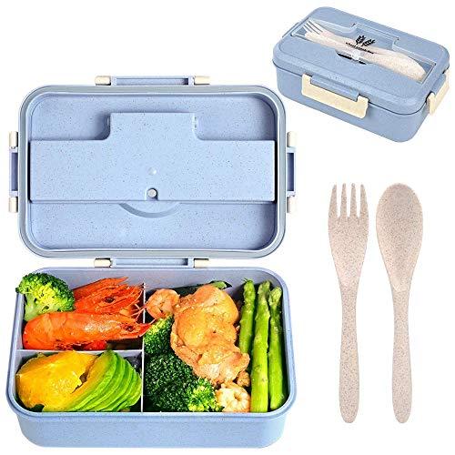 Annhao Porta Pranzo, Lunch Box, 1200ml Kids Bento Box con 3 Scomparti e Posate(Forchetta e Cucchiaio), Porta Pranzo Contenitori per Microonde e Lavastoviglie, Ideale per Adulto e Bambini - Blu