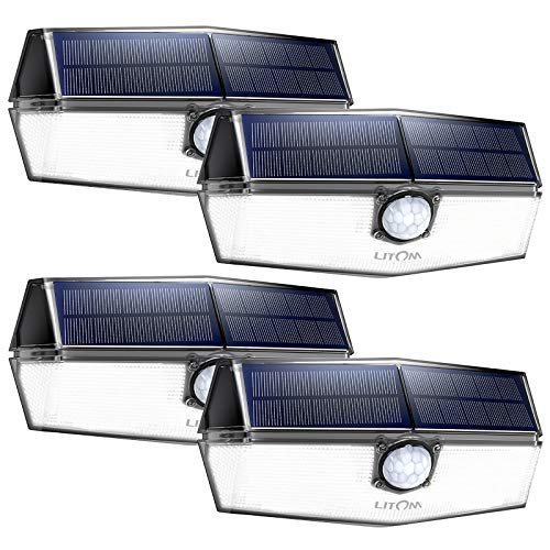 LITOM 120 LED Solar Lights Outdoor, upgraded Solar Panel with 3 Optional Modes and 270