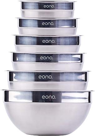 Amazon Marke: Eono Essentials Rührschüsseln aus Edelstahl, 6-teilig, stapelbar (matte und hochglänzende Ausführung) preisvergleich bei geschirr-verleih.eu