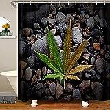 Cortina de ducha con hojas de marihuana, tela degradada, cortinas de ducha para niños, plantas alucinógenas, baño, accesorios impermeables con ganchos, 180 x 210 cm