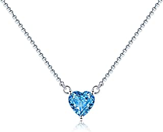 Necklace Jewelry Women's Blue Topaz Necklace Pendant Heart Necklaces Jewelry Gifts Or Girls Friend Mother Granny Sister Bi...