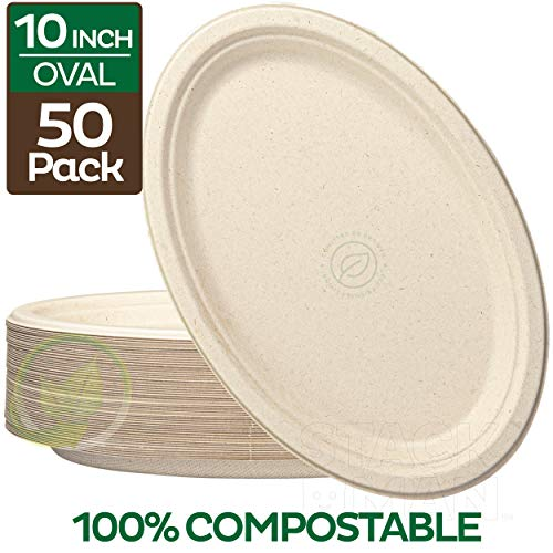100% Compostable Oval Paper Plates [10 inch - 50-Pack] Elegant Disposable Dinner Platter Heavy-Duty Quality, Natural Bagasse Unbleached Eco-Friendly Made of Sugar Cane Fibers, [10' x 7.5' Platter]