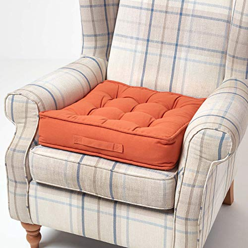 HOMESCAPES Terracotta Armchair Booster Cushion Large Firm 50 cm Square Seat Pad with Supportive 10 cm Thick Lift Soft Touch Orange Cotton Cushion For The Elderly, Post-Operative and Pregnancy