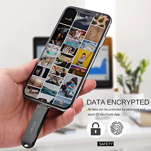LOMYGUSUSBフラッシュドライブ32GB,USBメモリiPhoneMFi認証小型軽量携帯便利,サムドライブiPhoneフォトスティック3in1USBスティック,iPhoneiPadiOSWindowsAndroidコンピュータに対応(ブラック32gb)