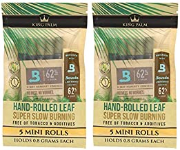 King Palm Mini Size Natural Pre Wrap Palm Leafs (2 Packs of 5, 10 Rolls Total) - Pre Rolled Cones - All Natural Cones - Co...