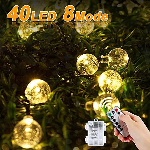 Vivibel LED Lichterkette Batteriebetrieben Kristall Kugeln, 40er LED 7.5 Meter Außenlichterkette Wasserdicht Beleuchtung mit Fernbedienung für Party, Geburtstag, Hochzeit, Garten, Fest Deko (Warmweiß)