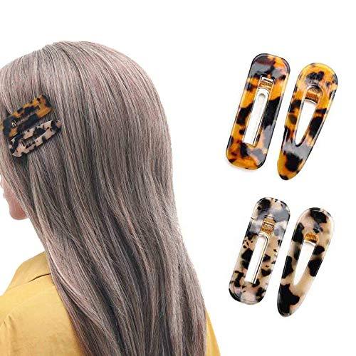 Nicute Haarspangen Acryl Leopard Haarspangen rutschfeste Schildkröte Muschel Haarnadeln Set Haarschmuck für Frauen und Mädchen (4 Stück) (Beige)