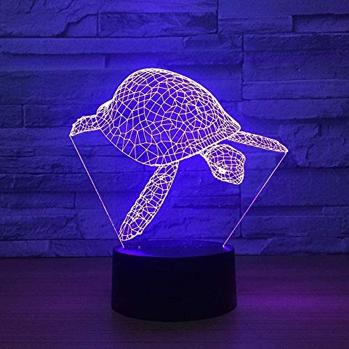 3D Slide 3D Turtle Lampe de table USB Turtle 3D Night Light Color USB 3D Slide pour l'éclairage d'ambiance décoratif dans le salon