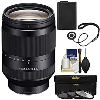 Sony Alpha E-Mount FE 24-240mm f/3.5-6.3 OSS Zoom Lens with 3 UV/CPL/ND8 Filters + Battery + Kit for A7 A7R A7S Mark II III Cameras