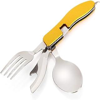سكين طعام متعدد الأغراض للتخييم في الهواء الطلق عبوة واحدة من أكواكاك، ملعقة طعام قابلة للفصل من الفولاذ المقاوم للصدأ، أد...