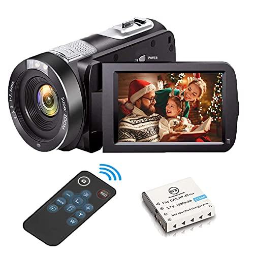 Videokamera Camcorder Full HD 1080P 28 MP Camcorder IR Nachtsicht 3,0'' 270°Drehbarer Bildschirm Vlogging-Kamera18X Zoom Videokamera mit Fernbedienung Video Camcorder für Kinder Anfänger/Jugendliche