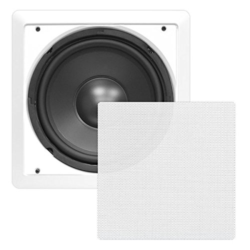 PYLE PDIWS10 In-Wall/In-Ceiling 10' High Power Subwoofer System, DVC, Flush Mount, White, Single Speaker