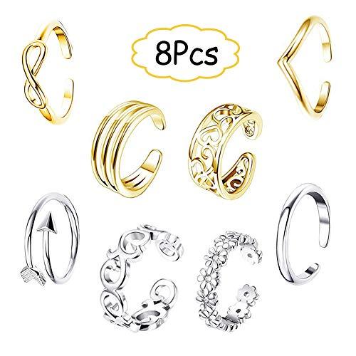 EQLEF Zehenring Set Gold und Silber, Verstellbarer offener Ring, Knöchelring und Schwanzring, Geschenk-Schmuckset (8 Stück)