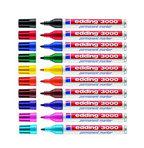 edding Permanentmarker edding 3000, nachfüllbar, Rundspitze, Schaft Aluminium (10er Pack/Sortiert (Nr. 1-10))