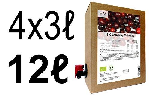 BIO Cranberry Muttersaft - 100% Direktsaft 12 Liter ( 4 x 3 Liter )