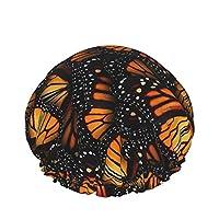 オレンジのモナーク蝶の山 シャワーキャップ スパハット おしゃれ 弾性ヘアキャップ 高品質 洗顔用キャップ 化粧帽 二重防水 就寝用帽子 室内帽子 通気 柔らかい 便利