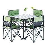 LJJY 5PC Gartenterrassenmöbel Set Klapp Camping Tisch und Stühle Outdoor Camping Tisch und Stuhl...