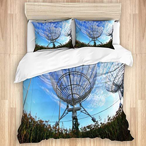 NANITHG Microfibre Duvet Cover,Signal Observatorys Radio Telescope Receiving Scientific Industrial Astronomy Nebula, Trendy Quilt Bedding Set.Double Size