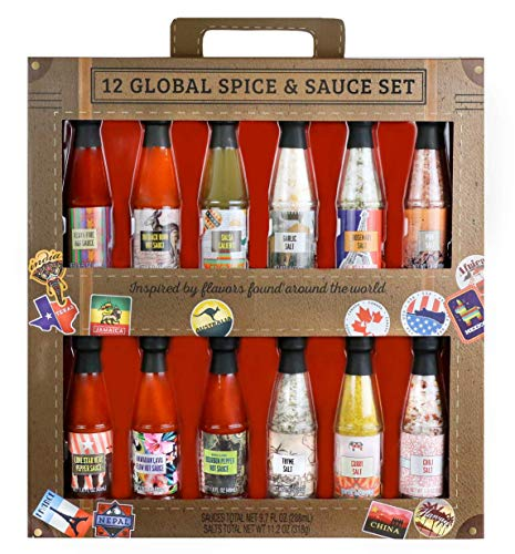 Thoughtfully Gifts, Global Spice and Sauce Set, Includes a Variety of 6...