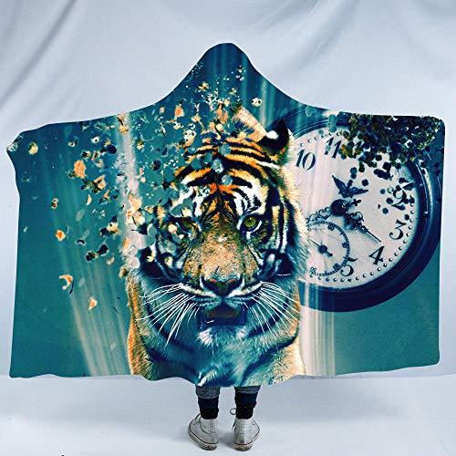 BZPKF Manta con Capucha para Adultos Hombres y Mujeres,Reloj, Tigre Franela Manta con Capucha 150×200cm Manta de Felpa Suéter Manta,Tejido Sherpa Albornoz Toallas Baño.