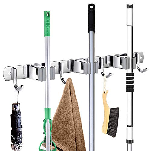 Broom Mop Holder Wall Mount 304 Stainless Steel Wall Mounted Storage Organizer Heavy Duty Tools Hanger with 3 Racks 4 Hooks for Kitchen Bathroom Closet Office Garden Garage