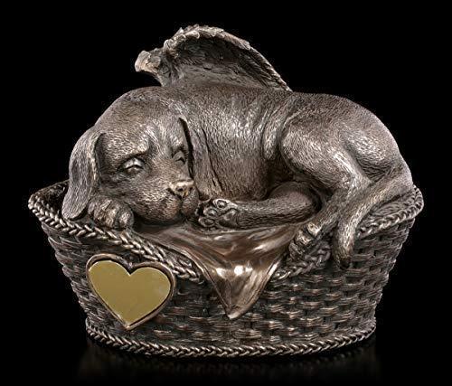 Figuren Shop GmbH Tier Urne - Hunde-Engel mit Gravurplatte   Hunde-Urne, bronziert
