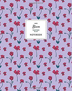 Bloom Notebook - Ruled Pages - 8x10 - Large: (Purple Edition) Fun Christmas notebook 192 ruled/lined pages (8x10 inches / ...