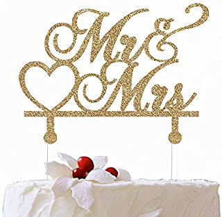 MR. & MRS Wedding Theme Cake Topper Customize Wedding Cake Topper Golden Glitter Cake Topper with Acrylic Stake Cake Decoration