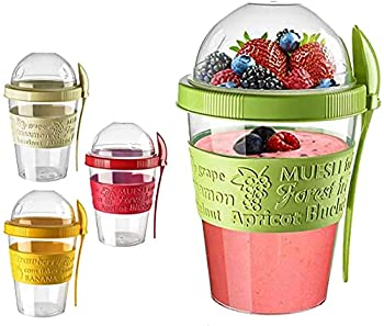 Ermer 20 oz Cereal On The Go Cups Portable Lux Yogurt Cereal to-Go Container with Top Lid Granola & Fruit Compartment Random Color