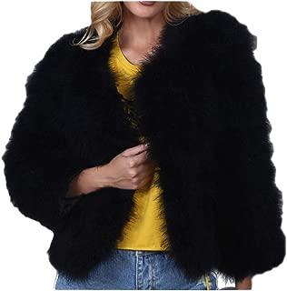 Dawwoti Women's Faux Fur Short Coat Warm Long Sleeve Luxury Chunky Peacoat for Winter New Year