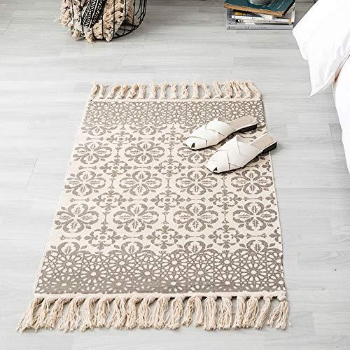 Alfombra tejida de algodón y lino con borlas, alfombra decorativa a máquina,...