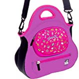 SHOPAFUN LOL Dolls / Shopkins & Mini Playsets Compatible Organizer - Pink/Purple Toy Tote Bag / Kids Handbag Purse / Designer Carry Fun in Washable Neoprene with New 3D Gem Bling Stickers