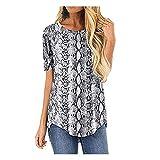 BWCX Camiseta De Verano para Mujer Tops Camisetas Básicas Informales De Manga Corta con Cuello Redondo,B,XL