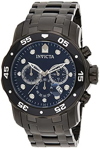 Invicta Men's Pro Diver Scuba 48mm Black Stainless Steel Chronograph Quartz Watch, Black (Model: 0076)