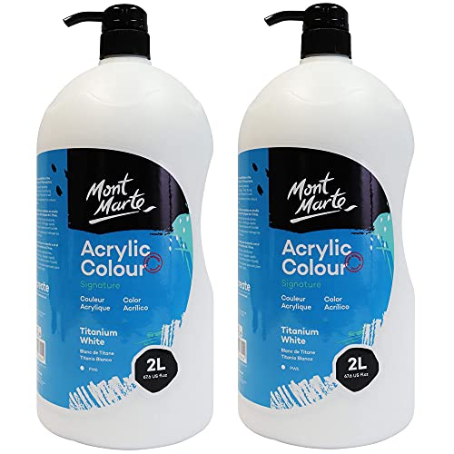 Mont Marte Discovery School Acrylic Paint, Titanium White, 1/2 Gallon (2 Liter).2 Pack Ideal for Students and Artists. Excellent Coverage and Fast Drying. Pump Lid Included.